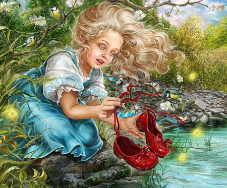 My clean red Shoes - flowers, water, girl, shoes