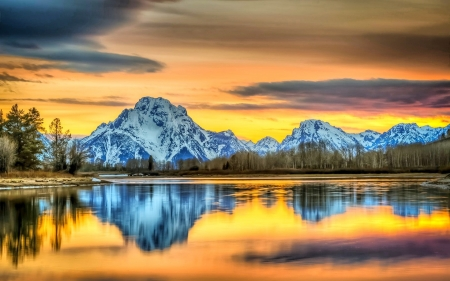 Grand Tetons at Golden Hour - lake, wyoming, usa, mountains, sky, reflections, clouds
