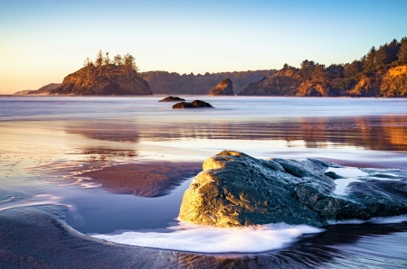 College Bay in Trinidad, California - rocks, usa, ice, sunset, sky, trees, sea, winter