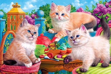 Kitten Tea Party - butterfly, cats, basket, painting, cakes, lilacs