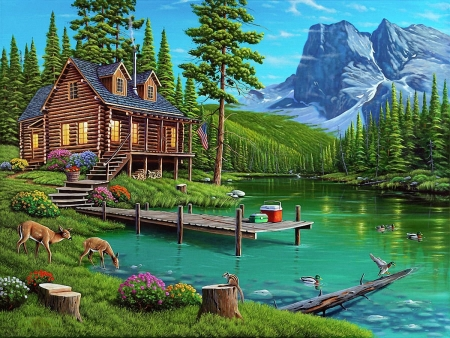 At the Forester's House - forest, house, water, mountains