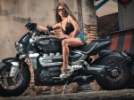 Model Posing on a Triumph Rocket 3