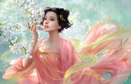 Like Springtime - blossoms, painting, girl, springtime