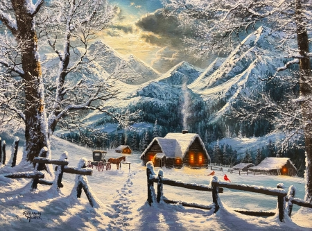 Snowy morning - rocks, fence, art, houses, beautiful, winter, countryside, mountain, snow, village, painting, Abraham Hunter, morning, sunrise, frost