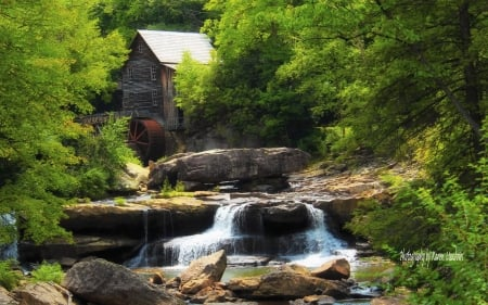 Watermill in Babcock State Park - waterfall, America, park, watermill