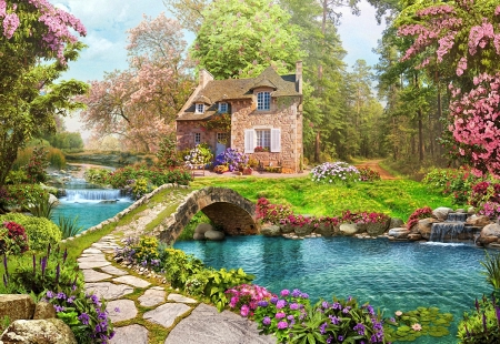 On a little Waterfall - flowers, house, water, grass