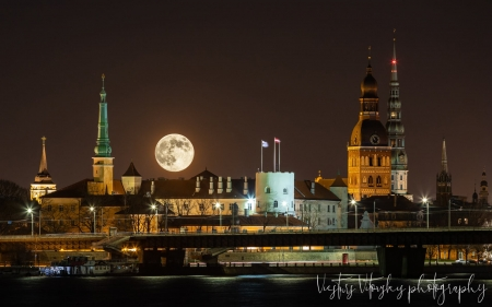 Riga at Night - Riga, Moon, night, churches, Latvia, palace