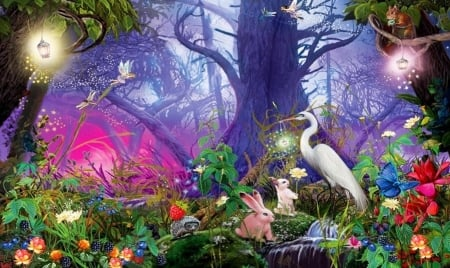 Fairy Land - forest, Fairy land, lovely, fantasy, colotful, Digital, creatures, enchanted, Magical