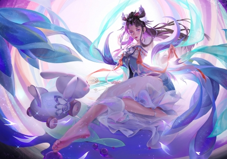 Chang'e - liu lingjun, blue, change, diao chan, chang e, luminos, goddess, moon, fantasy, girl, bunny, pink