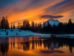 Lenticular cloud over Mt. Rainier at Tipsoo Lake, Washington