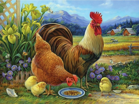 Amber Rooster And Family - flowers, hen, spring, chicken, painting