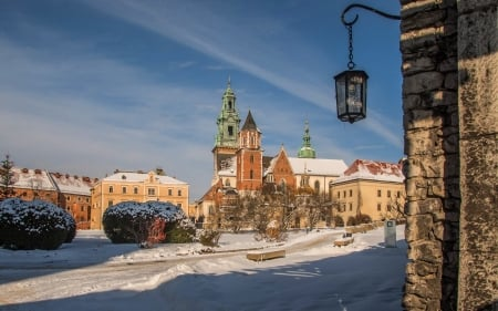 Winter in Krakow, Poland - castle, winter, Wawel, lantern, Poland, Krakow