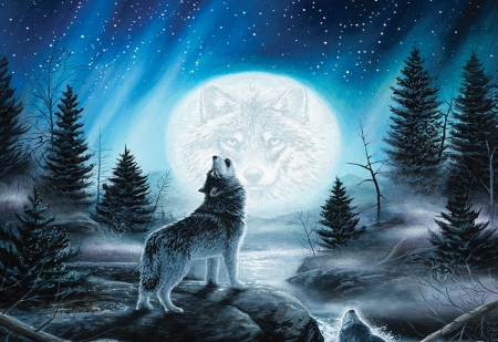 Call of the wild - night, howling, moon, painting, wolves, trees, artwork