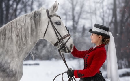 Lady and Horse - horse, woman, lady, winter, snow