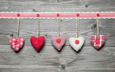 Happy Valentines! - hand made, hearts, wooden, red, Valentines, love