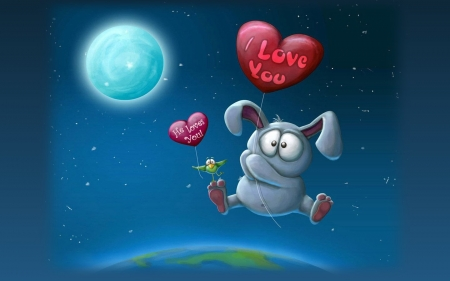 Happy Valentines! - Earth, bunny, Moon, heart, love