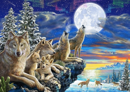 Pack on the Rocks - moon, trees, wolves, animals