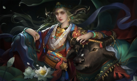 2021 ~ Year of the Ox - zodiac, chinese, ox, cow, frumusete, chinese zodiac, luminos, linh phuong, fantasy, girl, dark, gorgeous