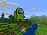 Pixelated Green Impostor from Among Us in RealmCraft Free Minecraft Style Game