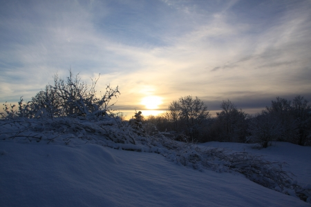 Sunset - nature, sunset, snow, winter
