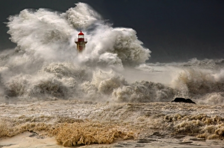 The fury of the waves - waves, storm, sea, lighthouse