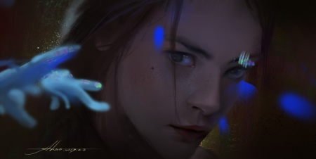 Juliet - art, fantasy, also, al so, dark, face, blue, juliet, girl