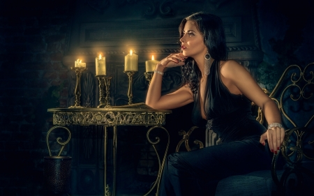 Beauty - candle, girl, model, dark, vampire, woman, lights, night