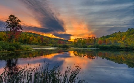 Sunset Over Lake - photography, sunset, reflection, lake