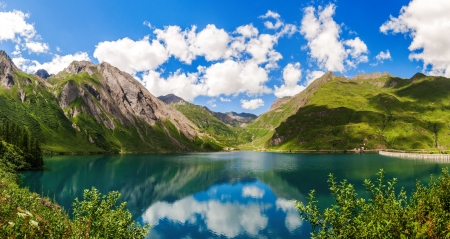 Lake Morasco, Italy - serenity, Italy, spring, sky, reflection, lake, hills, beautiful, clouds, mountain, calm