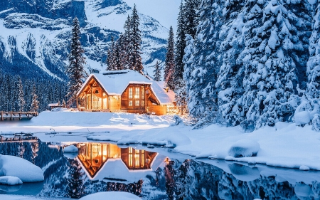 Emerald Lake Lodge, Yoho National Park, British Columbia - trees, reflections, pinetrees, water, snow, mountains