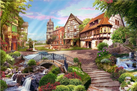 Sunny day - water, houses, tower, village, stairs, flowers, creek, artwork, digital