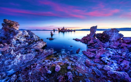 First Light at Mono Lake, California - rocks, water, stones, usa, sunrise, sky, clouds
