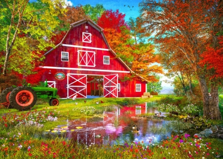 The red barn - farm, art, red, dominic davison, painting, pictura, barn