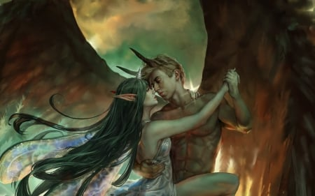Fantasy couple - maxim loginov, demon, wings, fantasy, dark, dance, fairy, couple, luminos