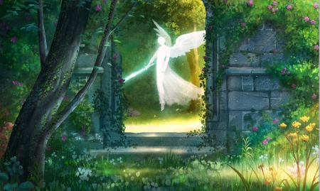 Eden by day - wings, fantasy, green, luminos, angel, bianca morelos, day, sword, white