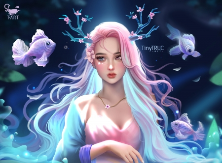 Water nymph - pink, tiny truc, blue, fish, mermaid, nymph, vara, fantasy, water, pesti, girl, summer