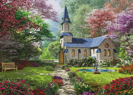 The Church - flowers, nature, church, trees, bank