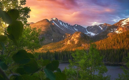 Perfect Summer Morning in Rocky Mountains, Colorado - landscape, usa, colors, sunrise, trees, sky, clouds