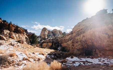 Capitol Reef National Park, Utah - sky, usa, mountains, stones, sun, landscape