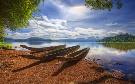 canoes - water, boat, canoe, lake