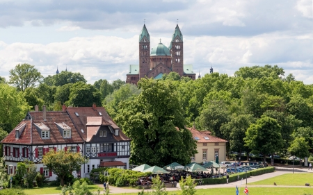 Cathedral in Germany - cathedral, church, Germany, town, houses