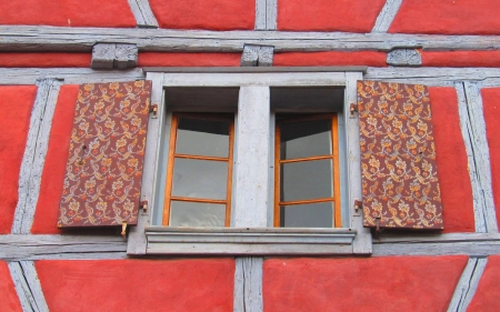 Window in France - France, window, Alsace, wooden, red