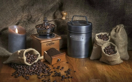 Coffee Still Life - grinder, coffee, wooden, beans, candle
