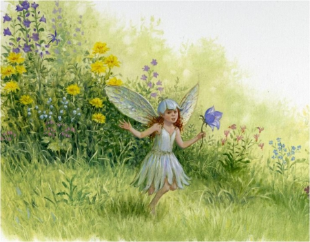 Fairy like Flowers - painting, flowers, grass, fairy