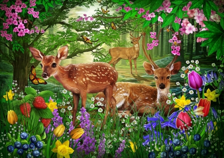 Trip to the Flowers - flowers, deers, nature, animals