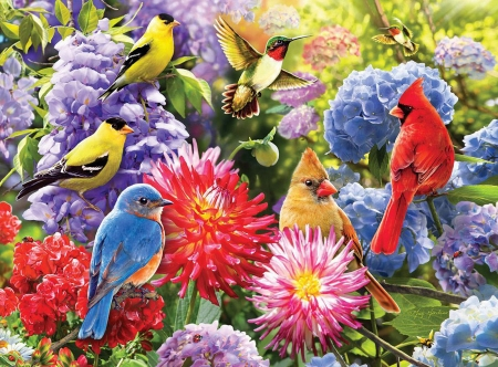 Spring Meetup - cardinals, painting, birds, flowers, blossoms, colors, hummingbird, goldfinch