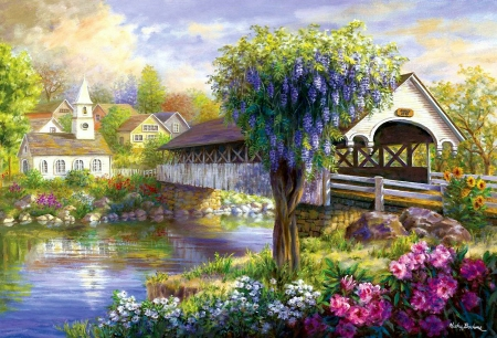 Picturesque Covered Bridge - village, flowers, river, trees, painting