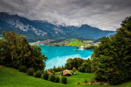 Lake Brienz - Switzerland - beautiful, lake, landscape, view, houses, greenery, Switzerland, clouds, sky, mountain, tourizm, village, reflection