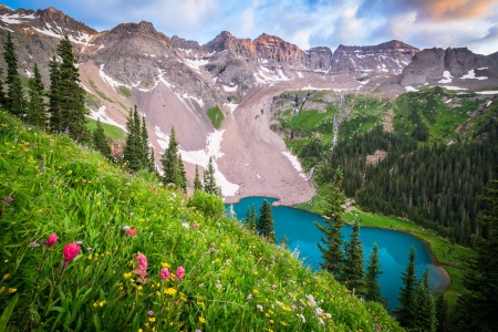 Blue lake - wildflowers, slope, blue, lake, meadow, hills, grass, view, beautiful, freshness, mountain