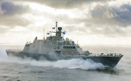 USS - St. Louise LCS-19 - sea, Navy, photography, ship, ocean, HD, combat